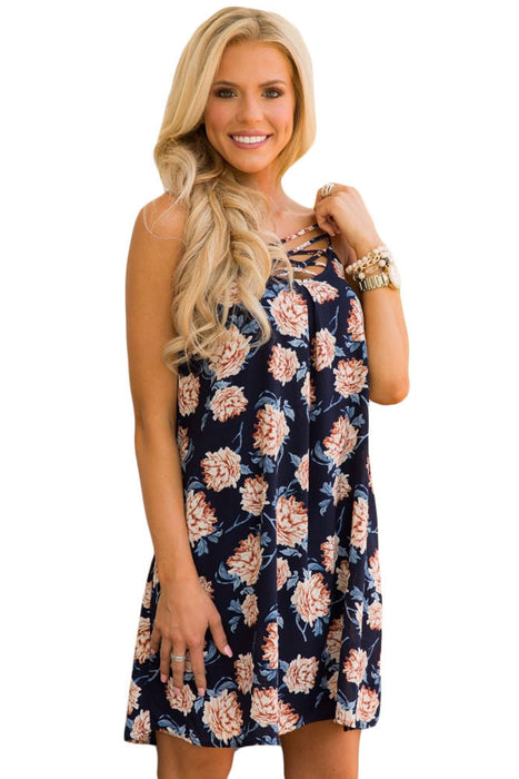 Chicloth Blue Floral Print Crisscross Neckline Shift Dress-Boho Dresses-Chicloth