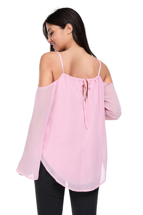 Chicloth Lilac Cold Shoulder Overlap V Neck Long Sleeve Top-Blouse-Chicloth