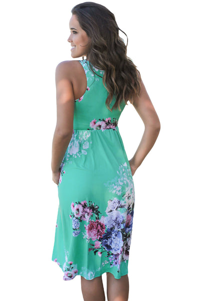 Chicloth Fall in Love with Floral Print Boho Dress in Mint-Boho Dresses-Chicloth