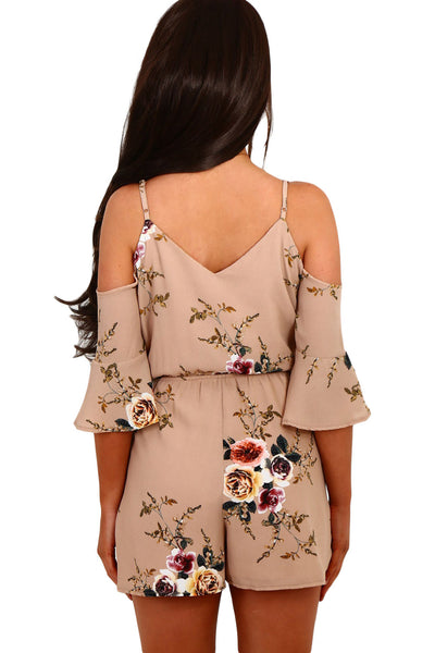Chicloth Apricot Multi Floral Ruffle Wrap Cold Shoulder Playsuit