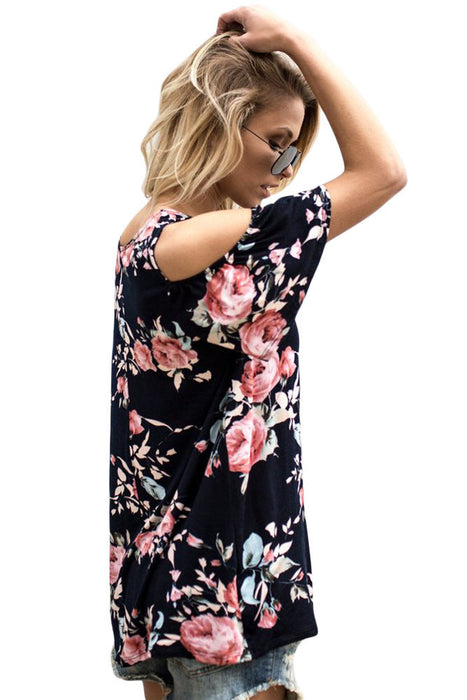 Chicloth Pink Floral Print Black Background Womens Top-Blouse-Chicloth