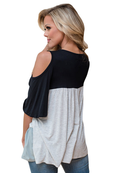 Chicloth Black Color Block Criss Cross V Neck Cold Shoulder Top-Blouse-Chicloth