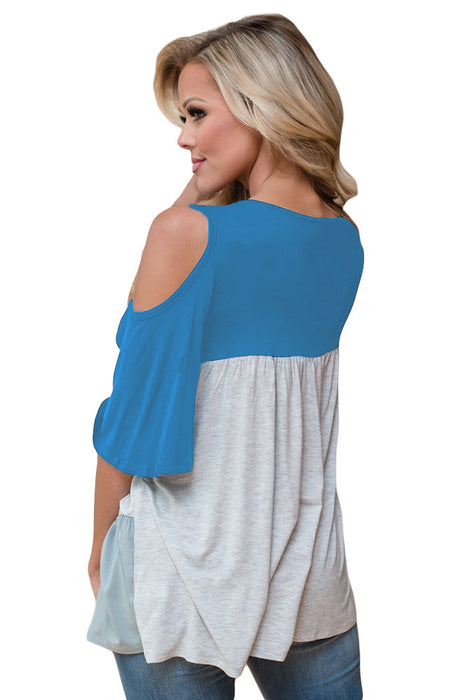 Chicloth Light Blue Color Block Criss Cross V Neck Cold Shoulder Top-Blouse-Chicloth