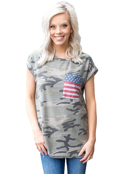 Chicloth American Flag Pocket Grey Camo Shirt