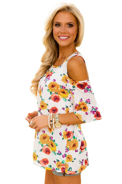 Chicloth Yellow Pink Floral Print White Background Womens Top-Blouse-Chicloth