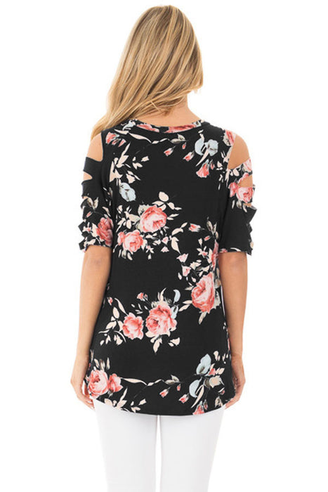 Chicloth Ladder Cutout Sleeve Black Floral Top-Blouse-Chicloth
