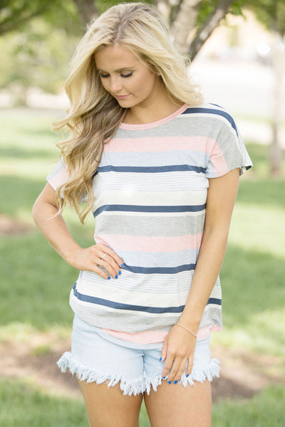 Chicloth Blue Striped Short Sleeve T-shirt