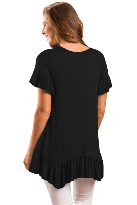 Chicloth Black Ruffle Trim Short Sleeve Flowy Top-Blouse-Chicloth