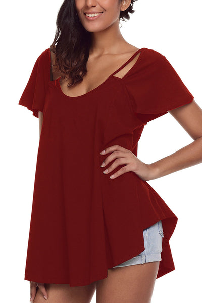 Chicloth Burgundy Cutout Cold Shoulder Flowy Top