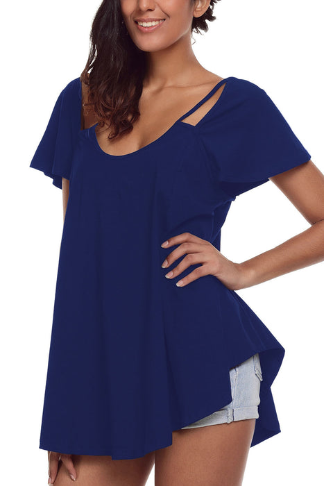Chicloth Royal Blue Cutout Cold Shoulder Flowy Top-Blouse-Chicloth