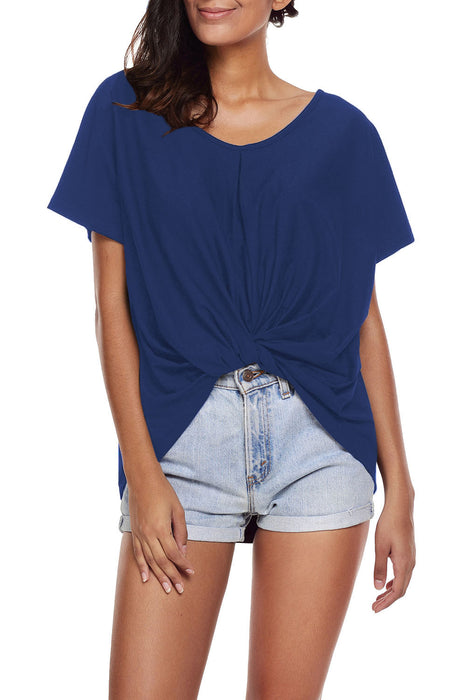 Chicloth Blue Draped Front Knot Top-Blouse-Chicloth