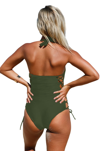 Chicloth Army Green Lace up Side Accent Open Back One piece Swimsuit