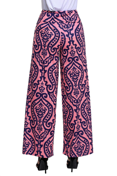 Chicloth Damask Print Pink Palazzo Pants