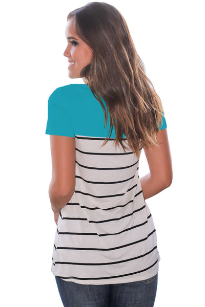 Chicloth Blue Splice Striped Short Sleeve T-shirt