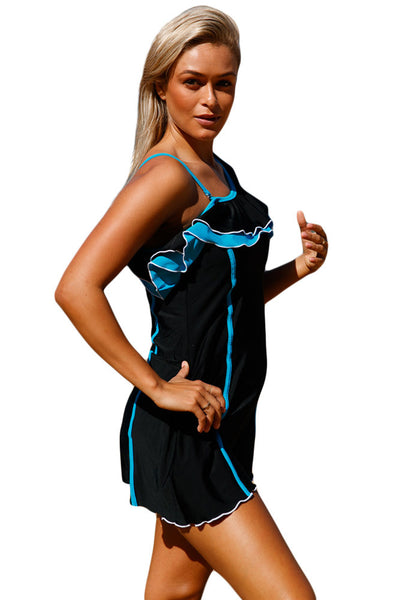 Chicloth Black Blue Ruffle 3pc Swim Dress with Shorts