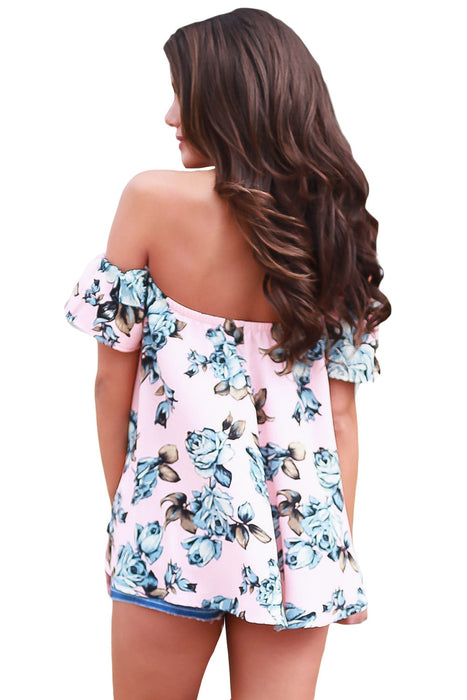 Chicloth Pink Blue Floral Off Shoulder Blouse-Blouse-Chicloth