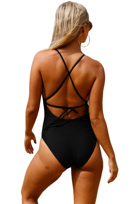 Chicloth Black Crochet Front Detail One Piece Bathing Suit-Sexy Swimwear||One-Piece Swimwear-Chicloth