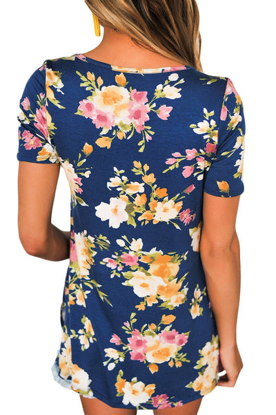 Chicloth Blue Floral Print Crisscross V Neck Casual Shirt
