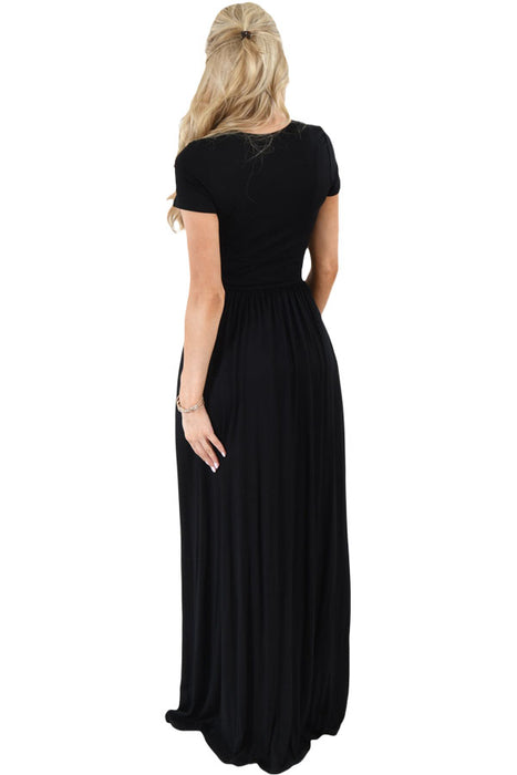 Chicloth Black Short Sleeve Ruched Waist Maxi Dress-Fashion Dresses||Maxi Dresses-Chicloth