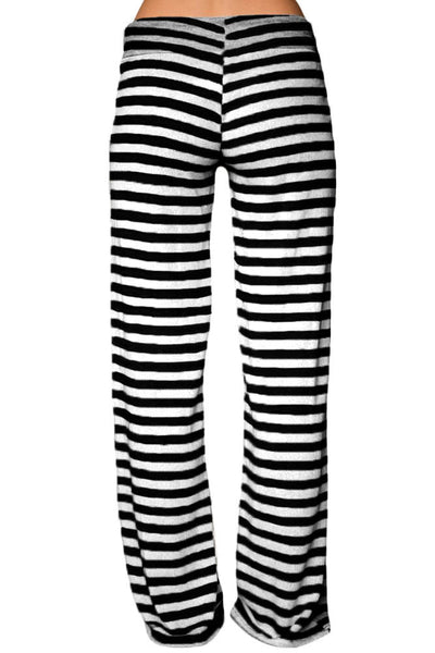 Chicloth Black White Striped Wide Leg Pants