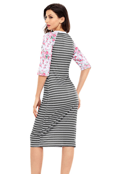Chicloth Black White Stripe Floral Sleeve Midi Dress