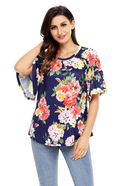 Chicloth Blue Big Floral Print Ruffle Sleeve Top
