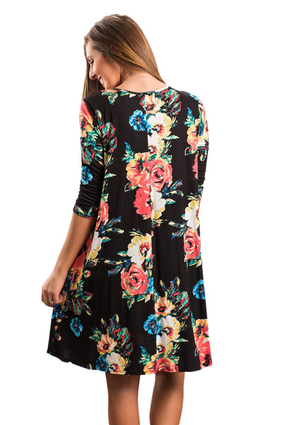 Chicloth Black Floral Long Sleeve A-Line Tunic Dress-Fashion Dresses||Boho Dresses-Chicloth