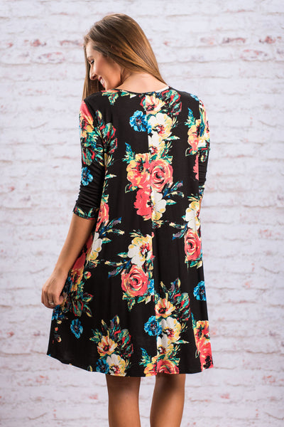 Chicloth Black Floral Long Sleeve A-Line Tunic Dress