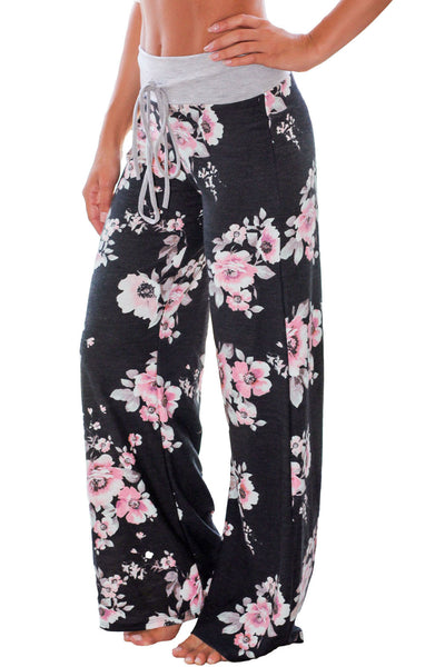 Chicloth Black Floral Terry Wide Leg Pants