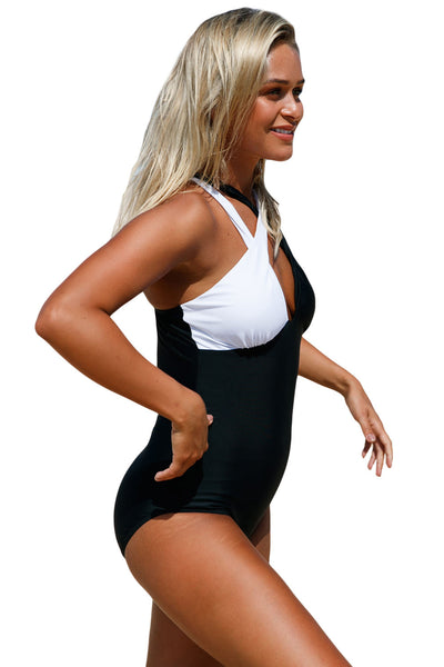 Chicloth Black White Double Cross Strap One Piece Swimsuit