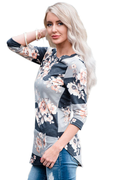 Chicloth Charcoal Grey Bold Stripe Light Floral Shirt