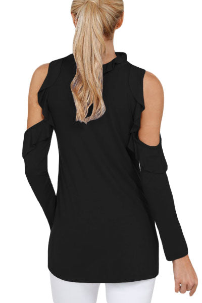 Chicloth Black Cold Shoulder Ruffle Top