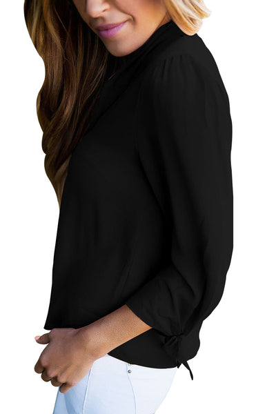 Chicloth Black Bow-tie Sleeved Blouse with Necktie