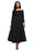 A| Chicloth Black Retro High Waist Pleated Belted Maxi Skirt-Skirts-Chicloth