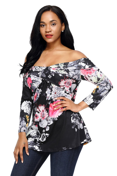 Chicloth Dark Floral Off Shoulder Crisscross Top-Women's Clothes||Blouses & Tops-Chicloth
