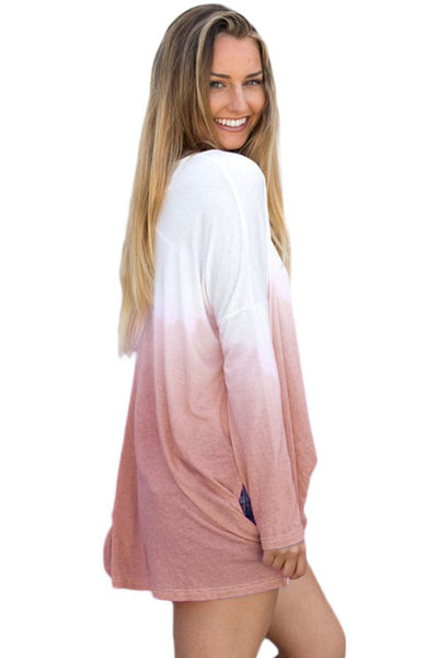 Chicloth Brown Ombre Split Side Long Sleeve Top