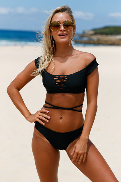 Chicloth Black Strappy Crisscross 2pcs Tankini Swimsuit