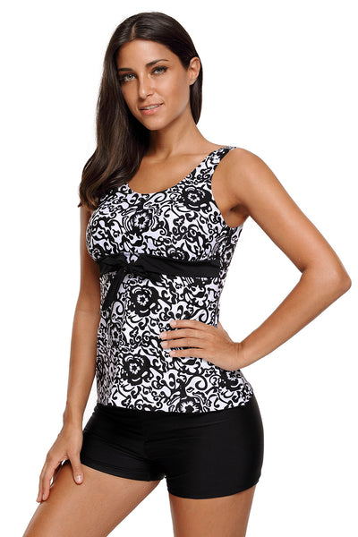 Chicloth Black Damask Floral Print Bowknot Detail Tankini Set