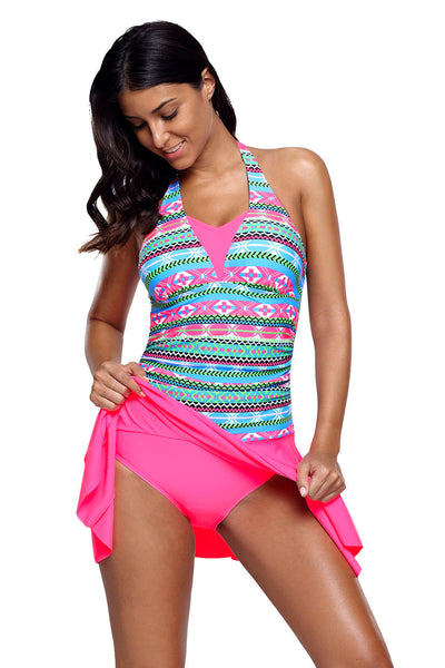 Chicloth Aztec Print Rosy Halterneck One Piece Swimdress