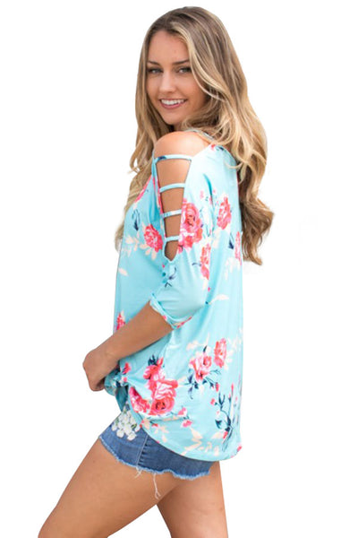 Chicloth Blue Cold Shoulder Floral Blouse