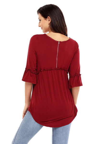 Chicloth Claret Babydoll Long Tunic Top