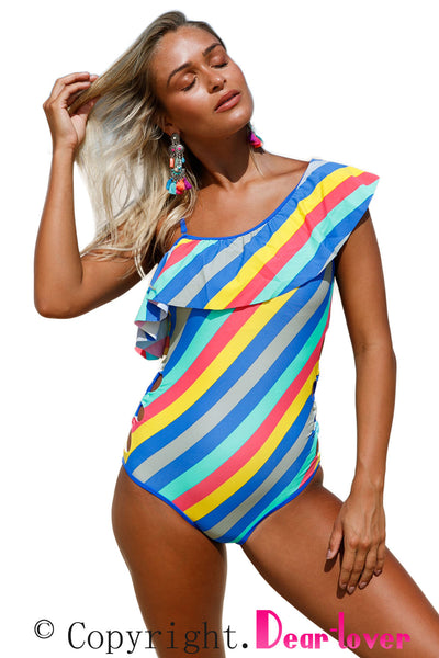 Chicloth Colorful Stripes Ruffle One Piece Swimsuit
