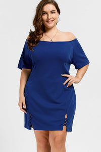 Chicloth Solid Color Off the Shoulder Plus Size Dress-Plus Size Dress-Chicloth