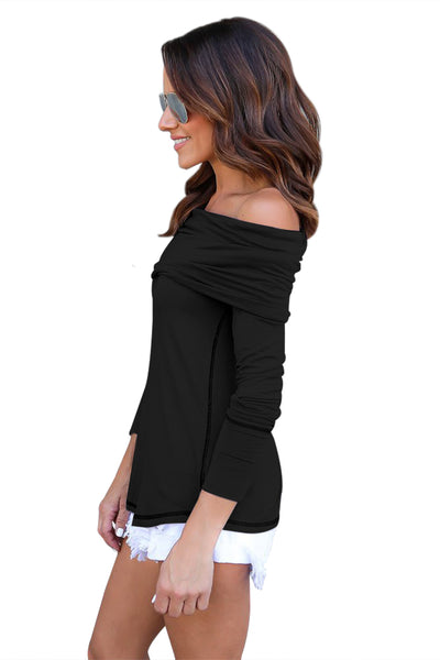 Chicloth Black Off The Shoulder Long Sleeve Top