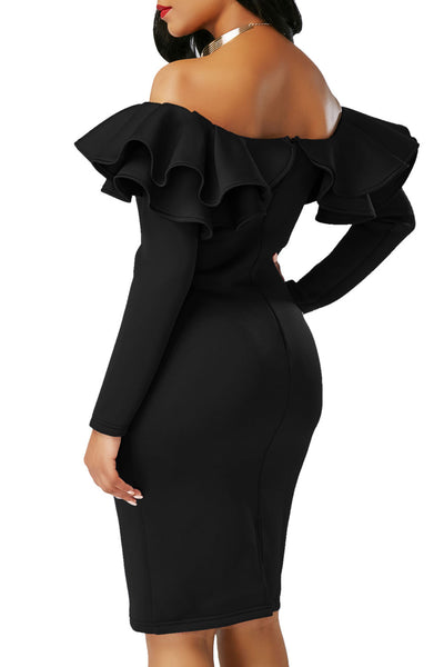Chicloth Black Ruffle Off The Shoulder Long Sleeve Bodycon Dress