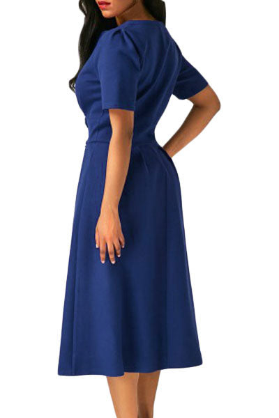 Chicloth Blue Split Neck Short Sleeve Midi Dress with Bowknots