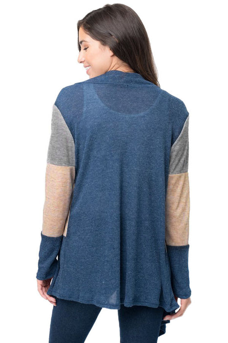 Chicloth Blue Shawl Neck Colorblock Long Sleeve Cardigan-Women's Clothes||Sweaters & Cardigans-Chicloth