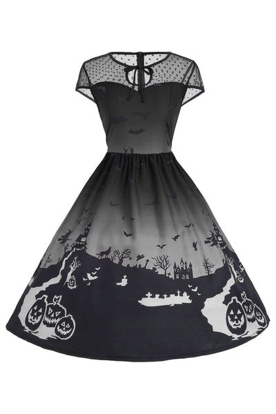 B| Chicloth Halloween Mesh Insert Vintage A Line Dress