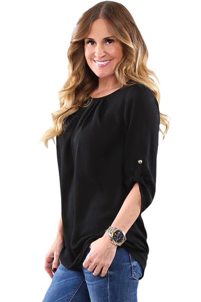 Chicloth Black Ruched Detail Pin up Sleeve Front Blouse