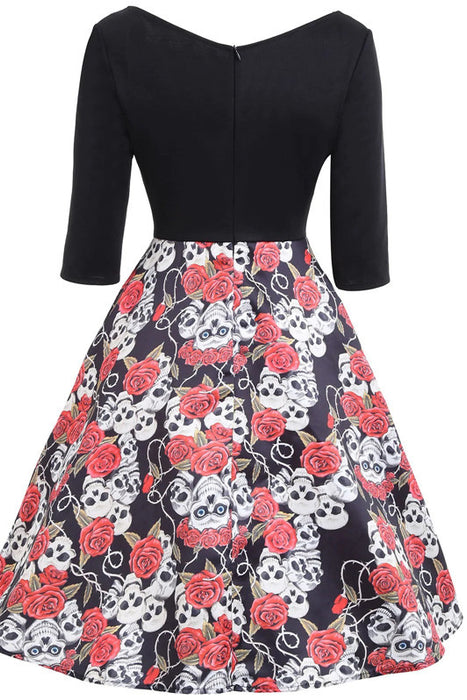 B| Chicloth Halloween Floral Skull Print Vintage Dress-party dresses-Chicloth
